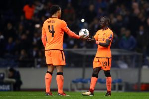 Mane receives the match ball after blasting a hat-trick past Porto in what was their most complete performance all season